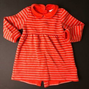 mini boden coral and rose gold striped dress